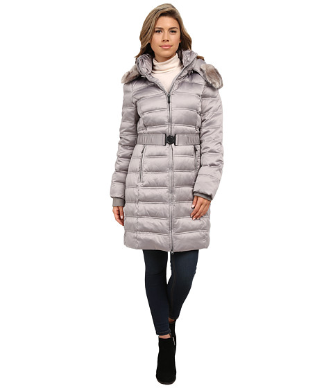 DKNY - Belted Coat with Detachable Fur Collar (Platinum) Women's Coat