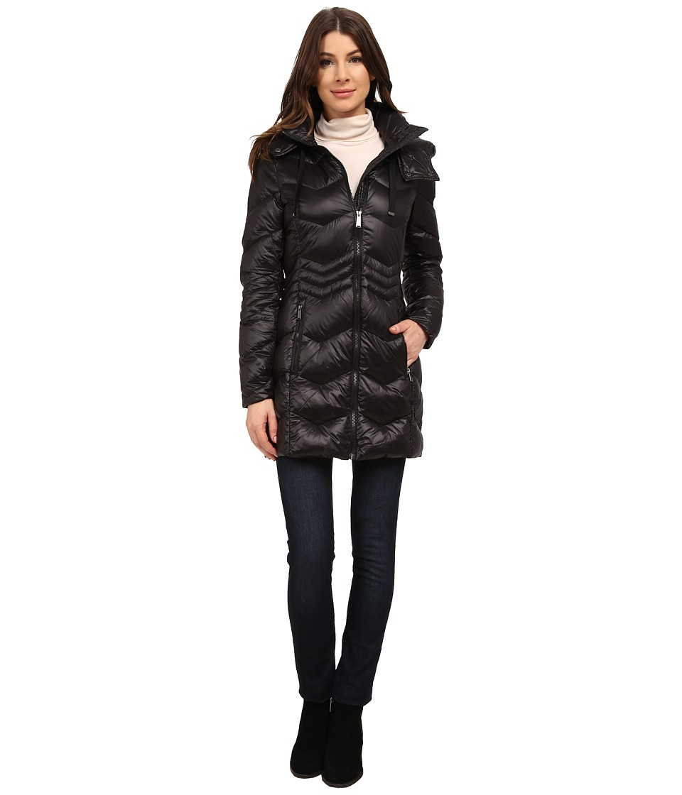 DKNY - 3/4 Chevron with Inset Waist (Black) Women's Coat