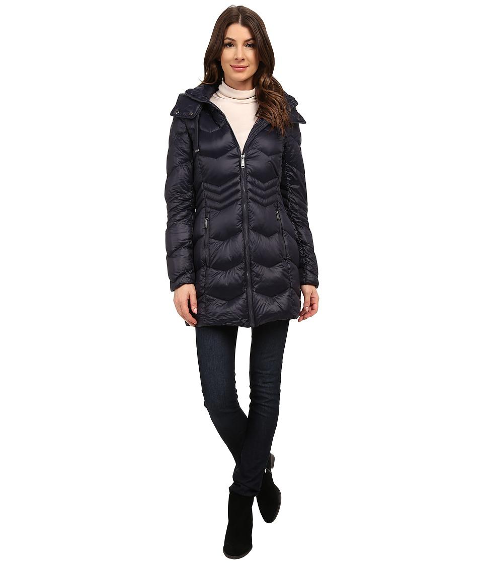 DKNY - 3/4 Chevron with Inset Waist (Navy) Women's Coat