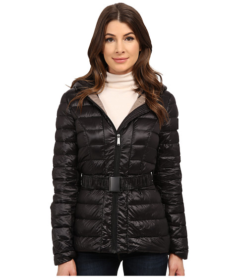 DKNY - Hooded Belted Jacket (Black) Women's Coat