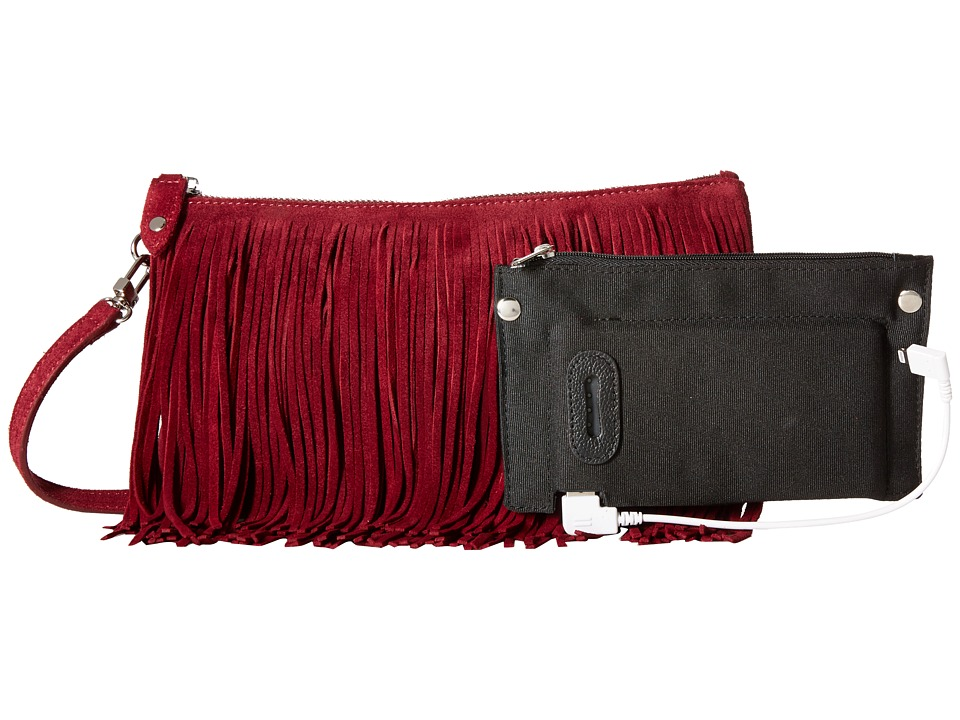 Mighty Purse - Fringe X-Body Bag (Fringe Red Suede) Cross Body Handbags