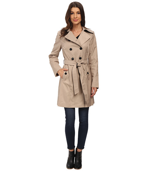 DKNY - Double Breasted Belted Trench with Faux Leather Trim (Sand) Women