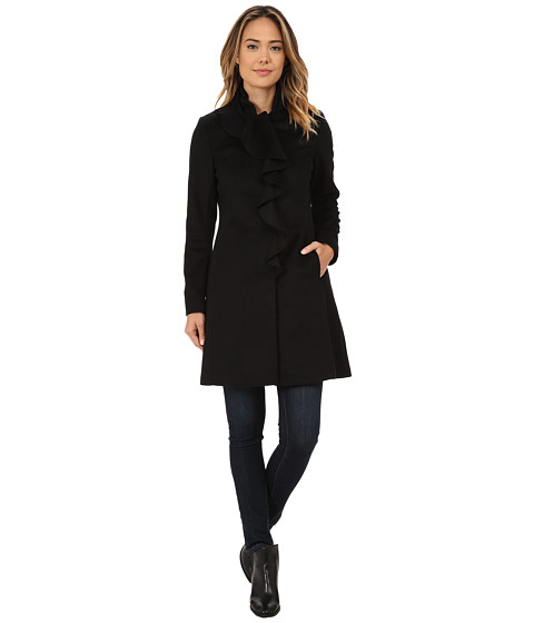 DKNY - Ruffle Walker (Black) Women's Coat