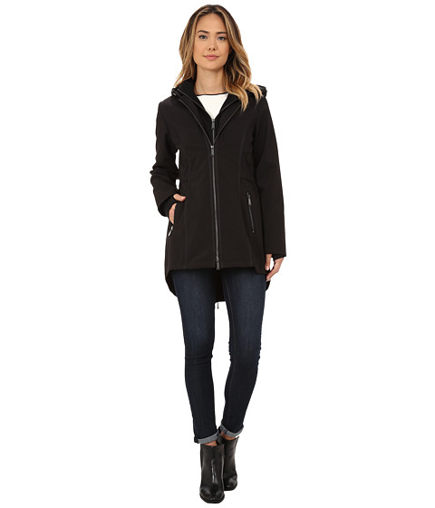 DKNY - Hooded Softshell with Jersey Inner Bib (Black) Women's Coat