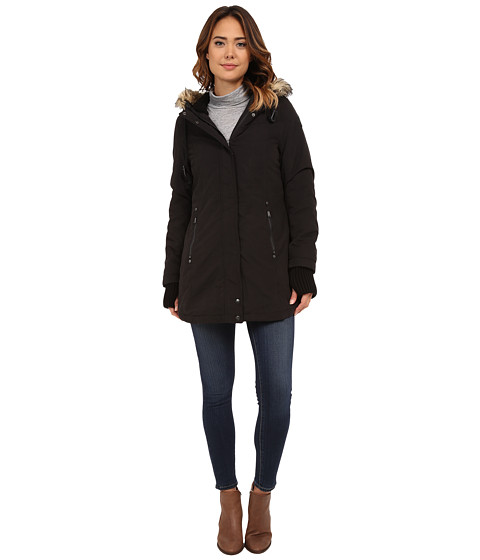 DKNY - Hood Hi-Lo Fitted Anorak (Black) Women