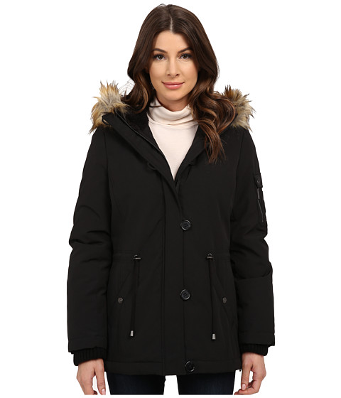 DKNY - Short Bomber with Faux Fur Hood (Black) Women's Coat