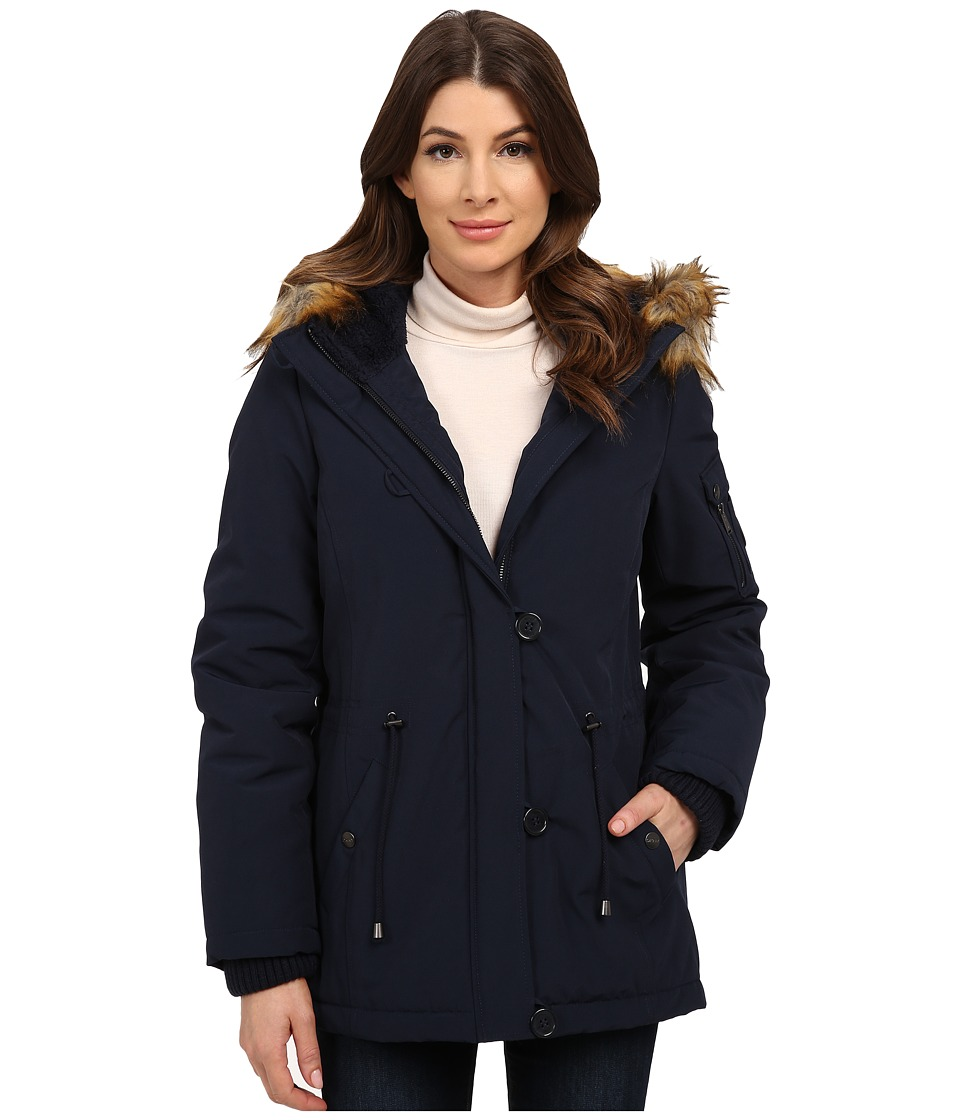 DKNY - Short Bomber with Faux Fur Hood (Navy) Women's Coat