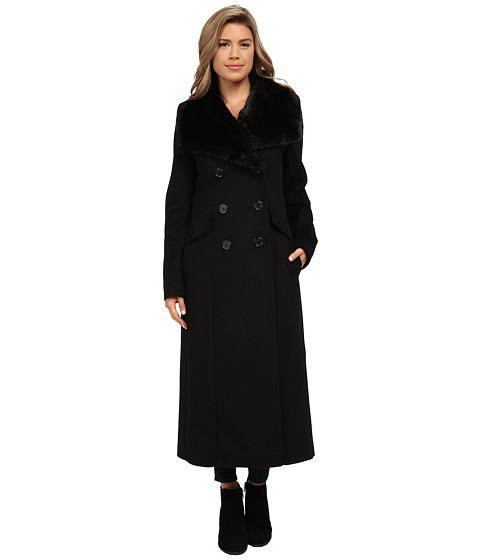 DKNY - Double Breasted Faux Fur Collar Maxi (Black) Women