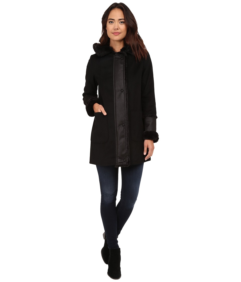 DKNY - Hooded Faux Fur Shearling Trim (Black) Women's Coat