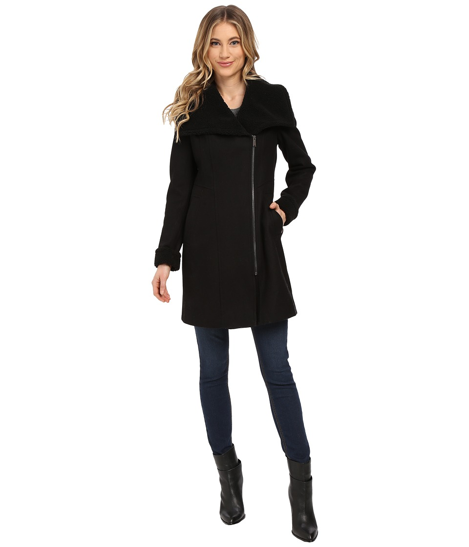DKNY - Asymmetrical Zip Front with Berber Collar (Black) Women