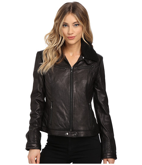 DKNY - Zip Front Leather with Berber Collar (Black) Women