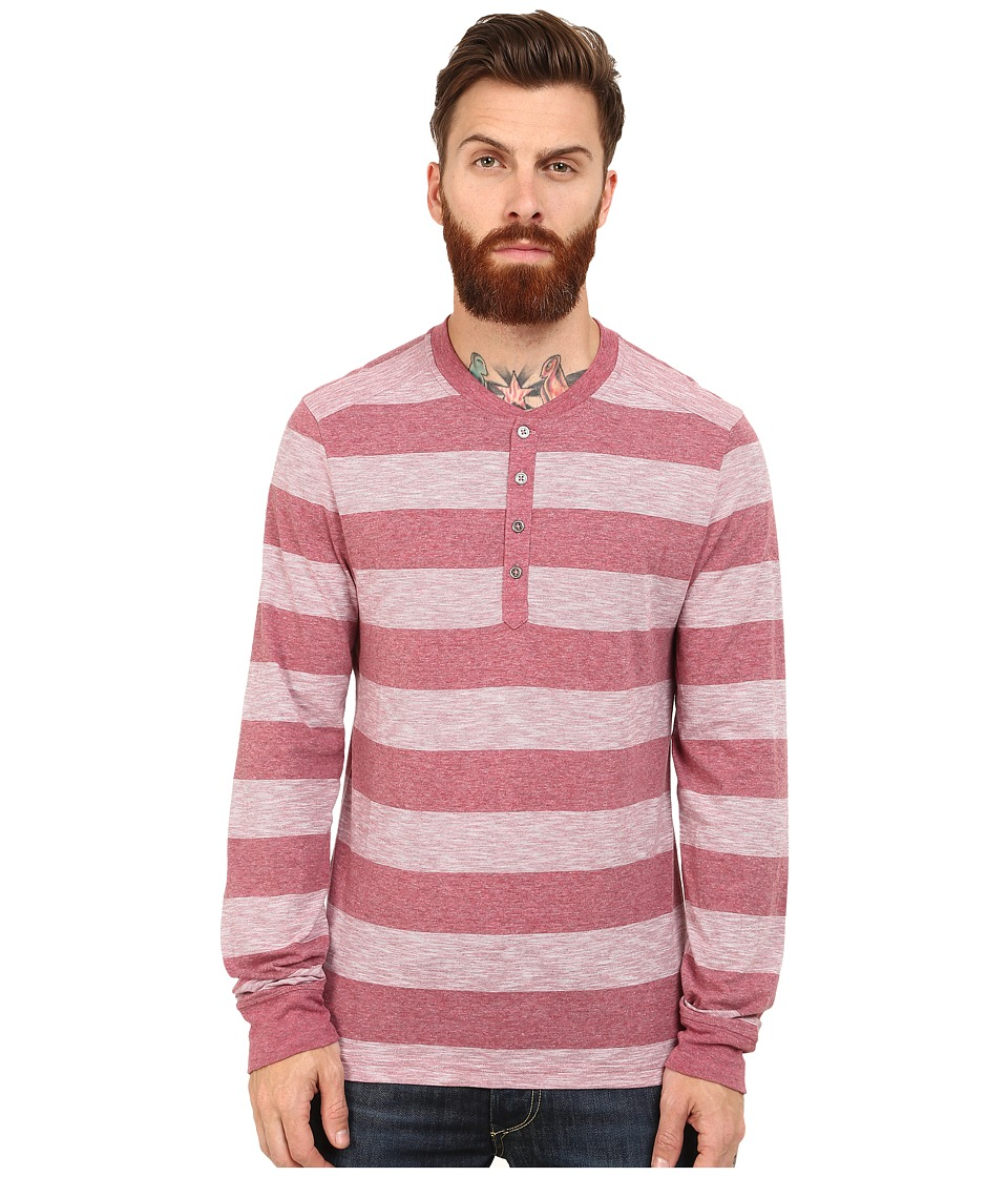 Original Penguin - Melange Auto Stripe Henley (Biking Red) Men