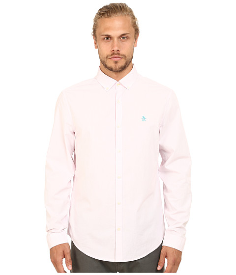 Original Penguin - Core Stripe Long Sleeve Woven (Pink Lady) Men