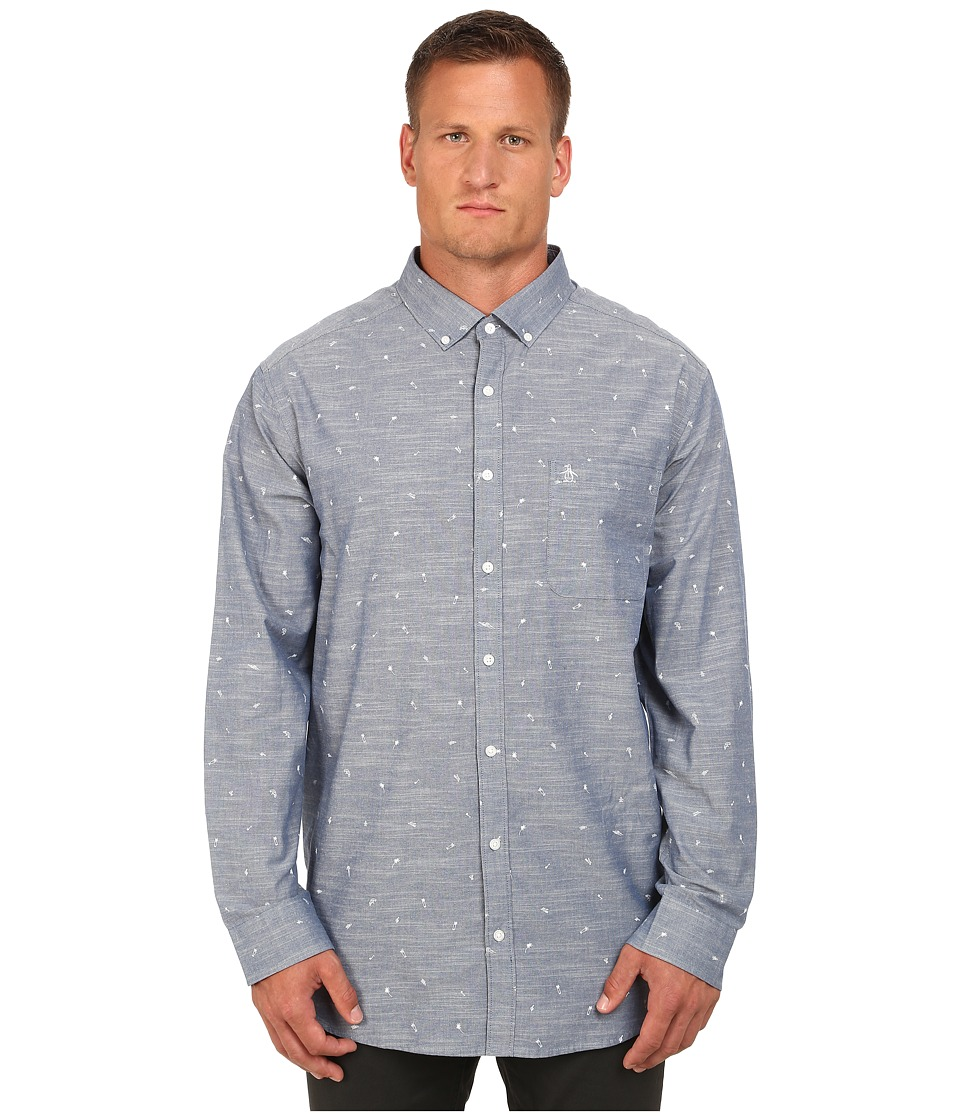 Original Penguin - Big Tall Chambray Long Sleeve Woven (Dress Blues) Men's Long Sleeve Button Up