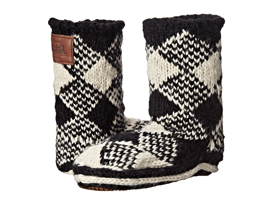 Woolrich - Chalet Ankle Sock (Black/White Plaid) Women's Slippers