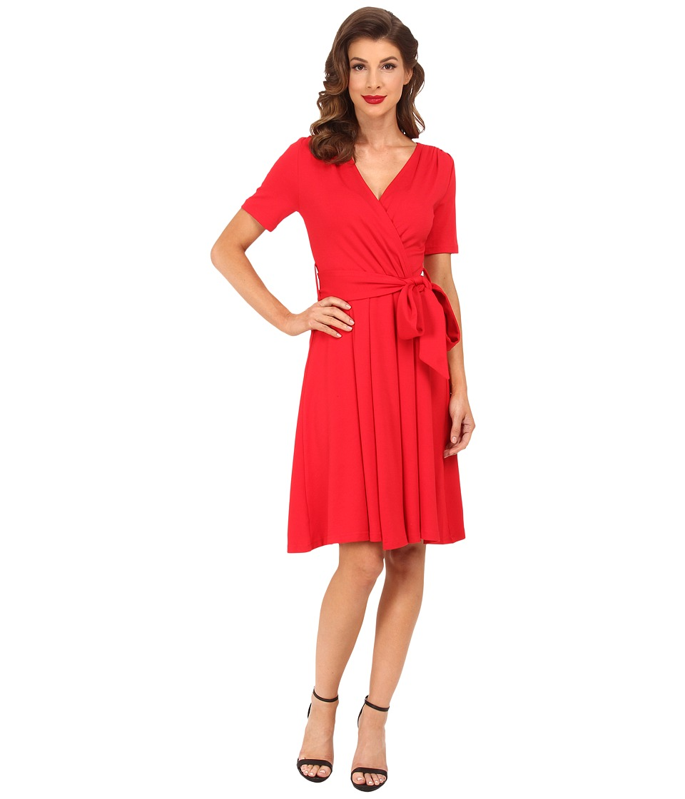 Unique Vintage - Diane Wrap Dress (Red) Women's Dress