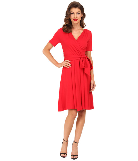 Unique Vintage - Diane Wrap Dress (Red) Women