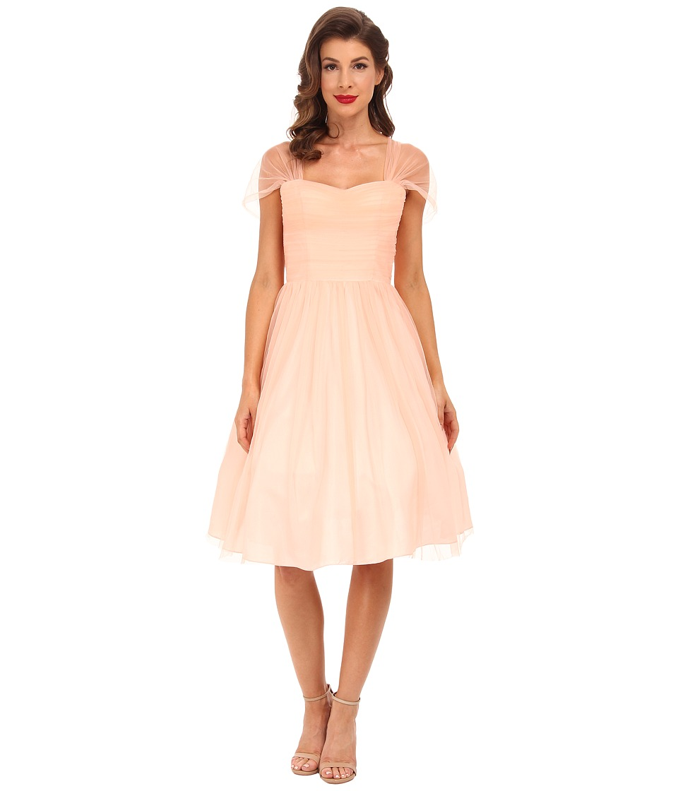 Unique Vintage - Chiffon Garden State Dress (Peach) Women's Dress
