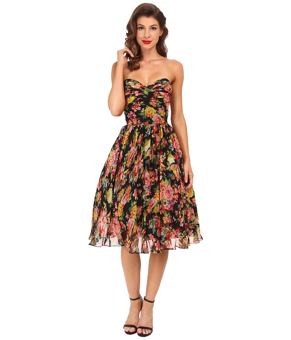 Unique Vintage - Dandridge Chiffon Swing Dress (Black Floral) Women's Dress