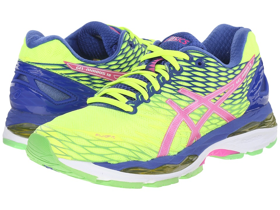 ASICS - Gel-Nimbus 18 (Flash Yellow/Pink Glow/Asics Blue) Women's Running Shoes