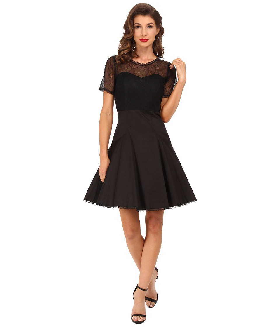 Unique Vintage - Cotton Lace Dress (Black) Women's Dress