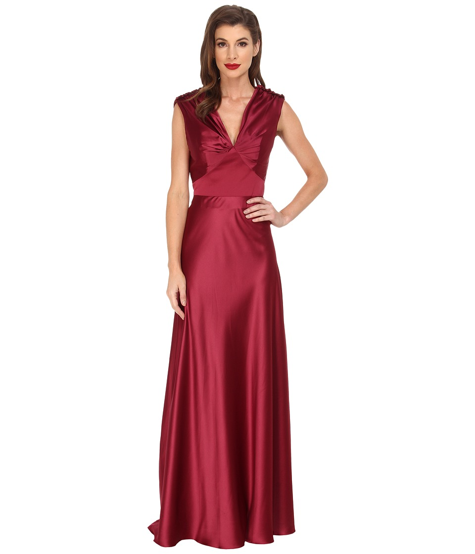 Unique Vintage - Satin Harlow Gown (Merlot) Women's Dress