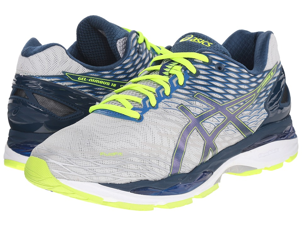 ASICS - Gel-Nimbus 18 (Silver/Ink/Flash Yellow) Men's Running Shoes