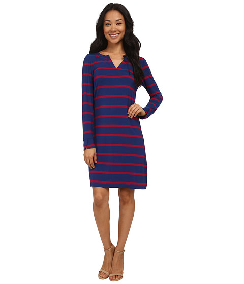 Hatley - Peplum Dress (Navy Berry Stripes) Women
