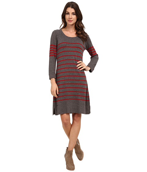 Hatley - Sweater Dress (Grey/Ruby Stripes) Women's Dress
