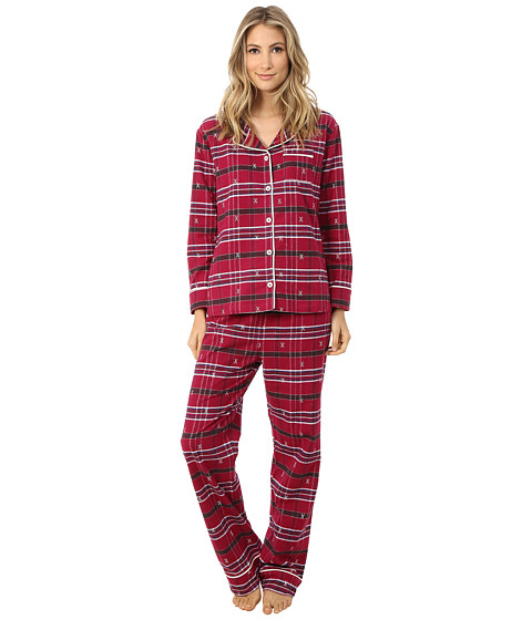 Hatley - Flannel 2-Piece PJ Set (Ski Cross On Plaid) Women's Pajama Sets