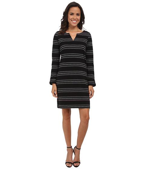 Hatley - Peplum Sleeve Dress (Black Stripe) Women