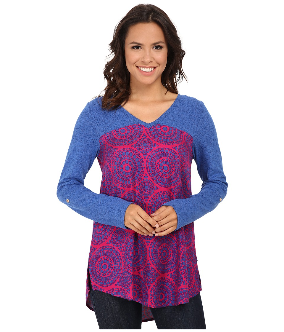 Hatley - Mixed Media Blouse (Berry Mosaic) Women's Blouse