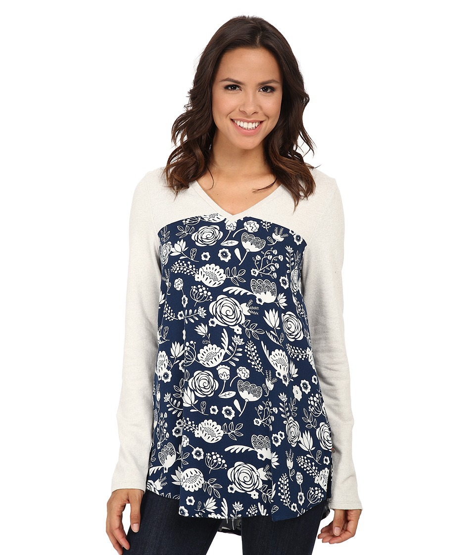 Hatley - Mixed Media Blouse (Navy Field Flowers) Women
