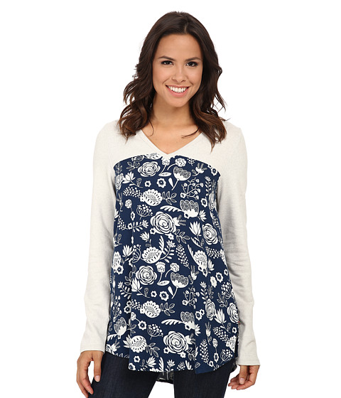 Hatley - Mixed Media Blouse (Navy Field Flowers) Women's Blouse