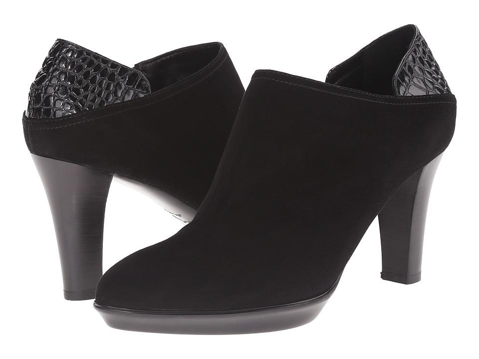 Aquatalia - Ramona (Black Suede/Croc Calf) Women's Rain Boots