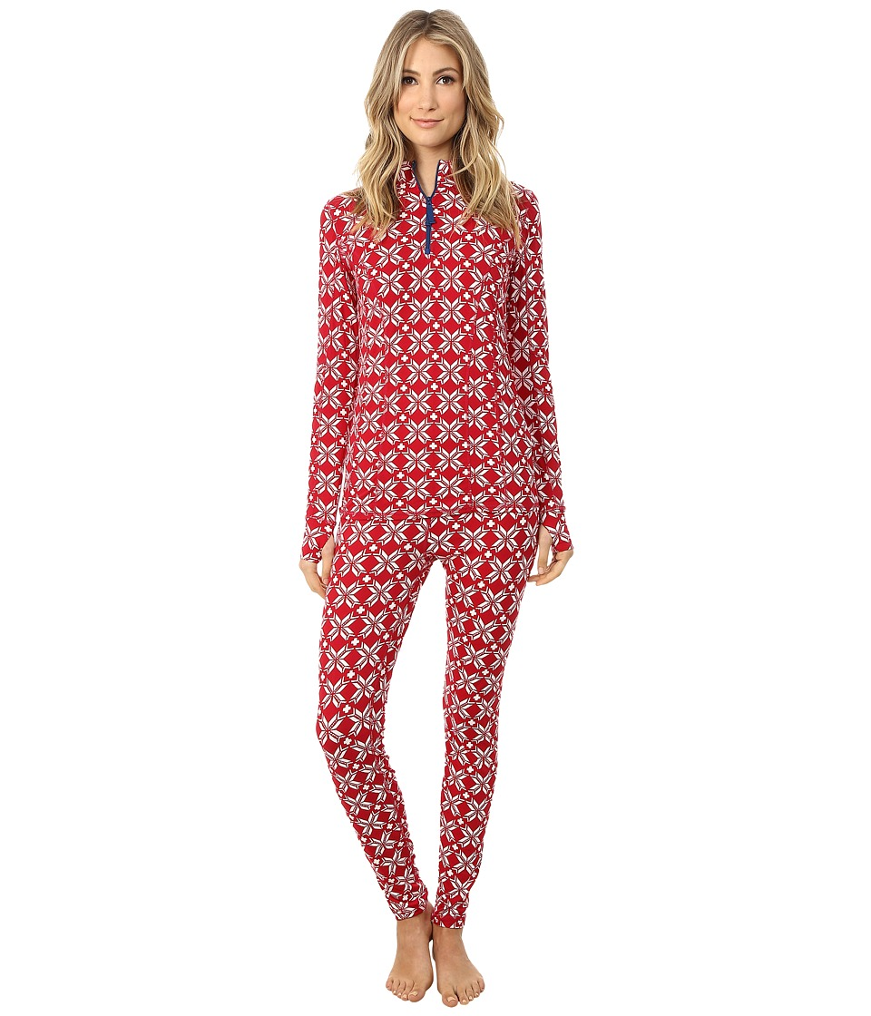 Hatley - Mock Neck Base Layer Set (Ruby Snowflakes) Women's Active Sets
