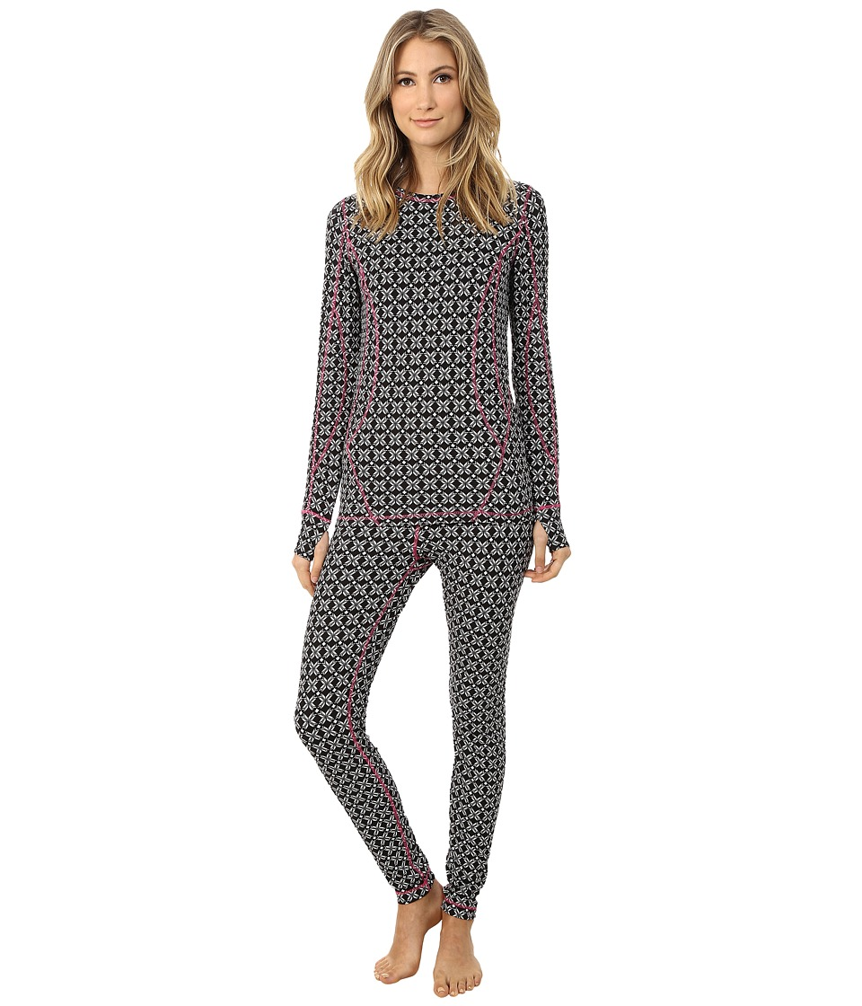 Hatley - Crew Neck Base Layer Set (Black Snowflakes) Women's Active Sets