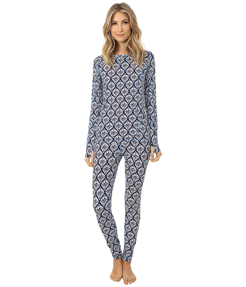Hatley - Crew Neck Base Layer Set (Navy Medallion) Women's Active Sets