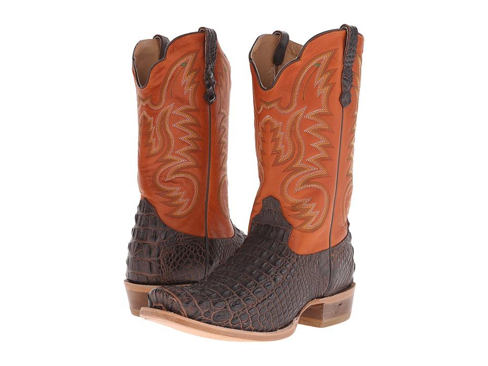 Old West Boots - 60004 (Brandy Hornback Caiman Print/Adrian Cognac) Cowboy Boots