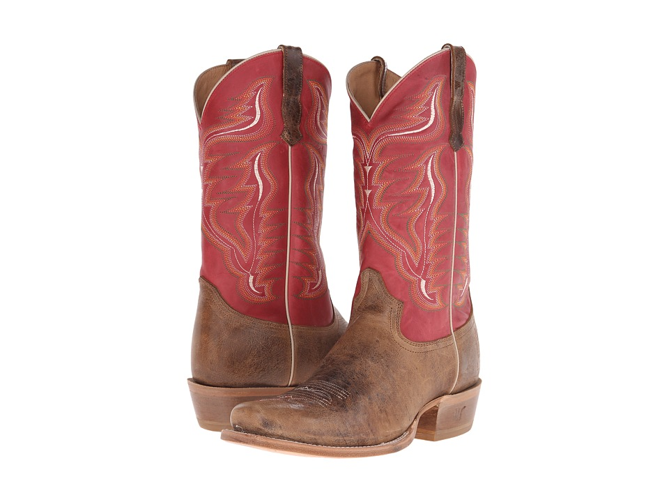 Old West Boots - 60003 (Tan Road/Boston Red) Cowboy Boots