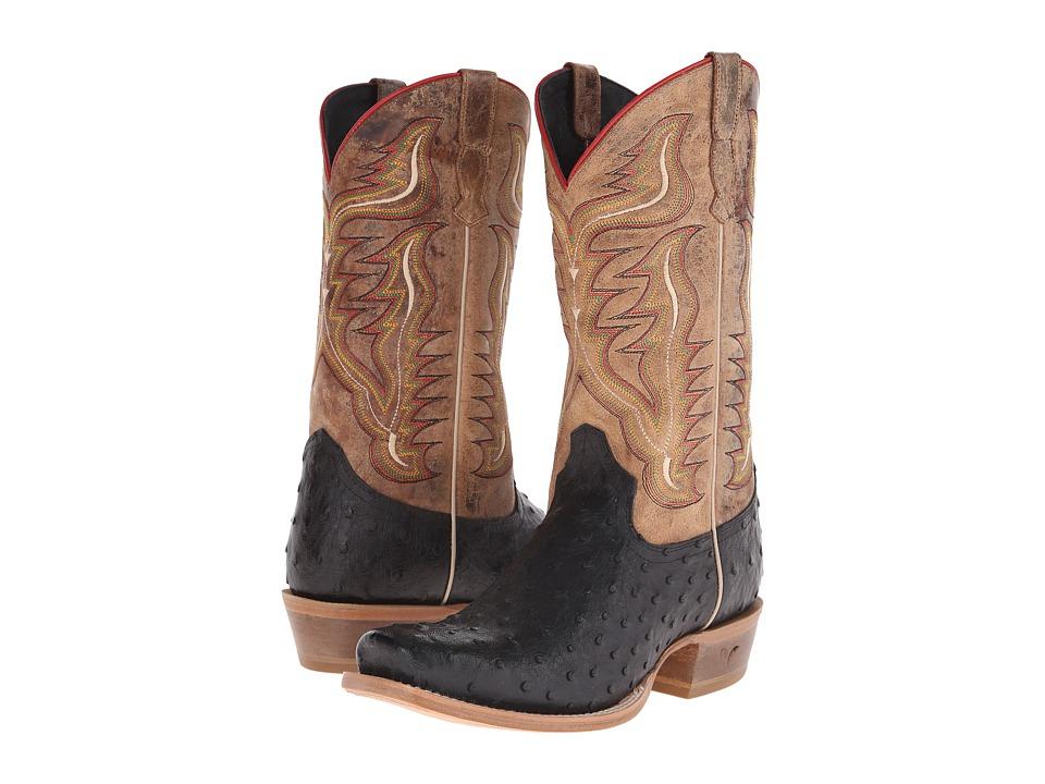 Old West Boots - 60001 (Black Ostrich Print/Tan Road) Cowboy Boots