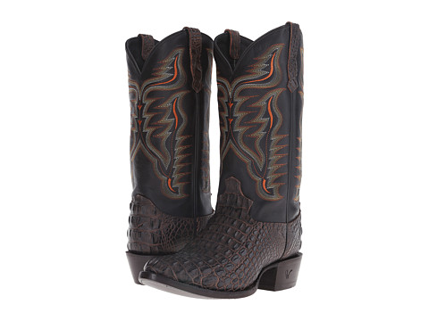 Old West Boots - 60201 (Brandy Hornback Caiman Print/Black Adrian) Cowboy Boots