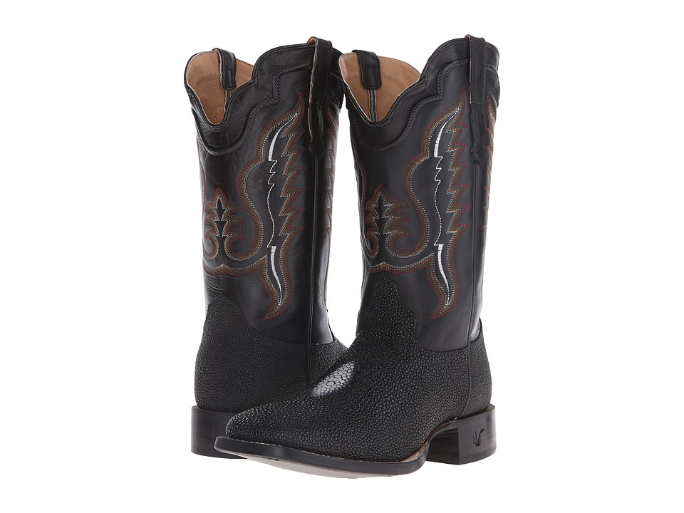 Old West Boots - 60111 (Black Stingray Print/Adrian Black) Cowboy Boots