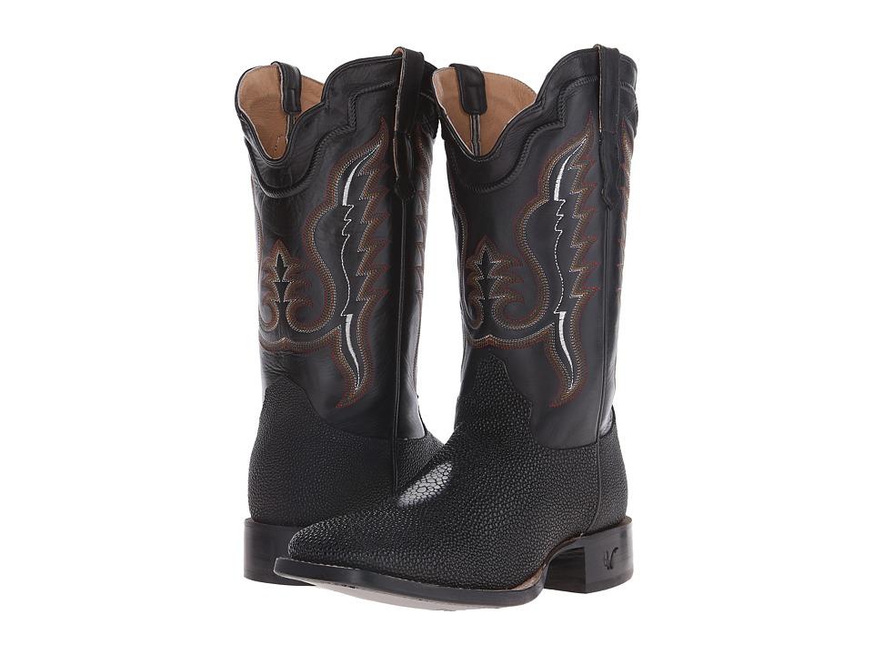 Old West Boots - 60111 (Black Stingray Print/Adrian Black) Cowboy Boots