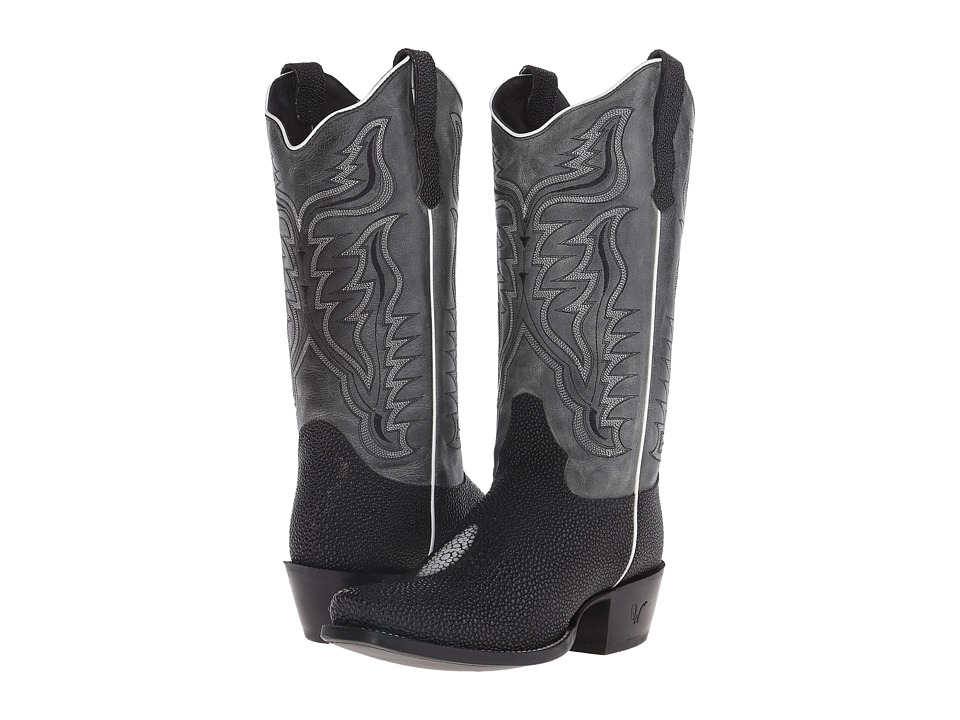 Old West Boots - 70113 (Black Stingray Print/Black Nevada) Cowboy Boots