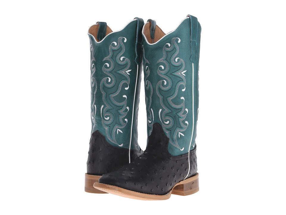 Old West Boots - 70054 (Black Ostrich Print/Collazo Turquoise) Cowboy Boots