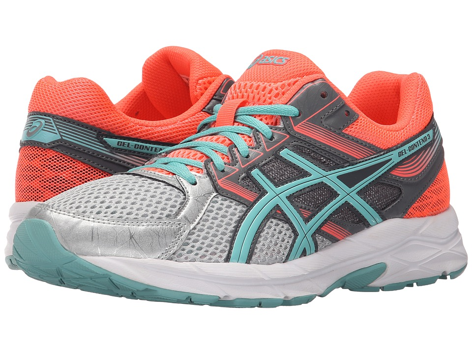 ASICS - GEL-Contend 3 (Silver/Pool Blue/Flash Coral) Women's Running Shoes
