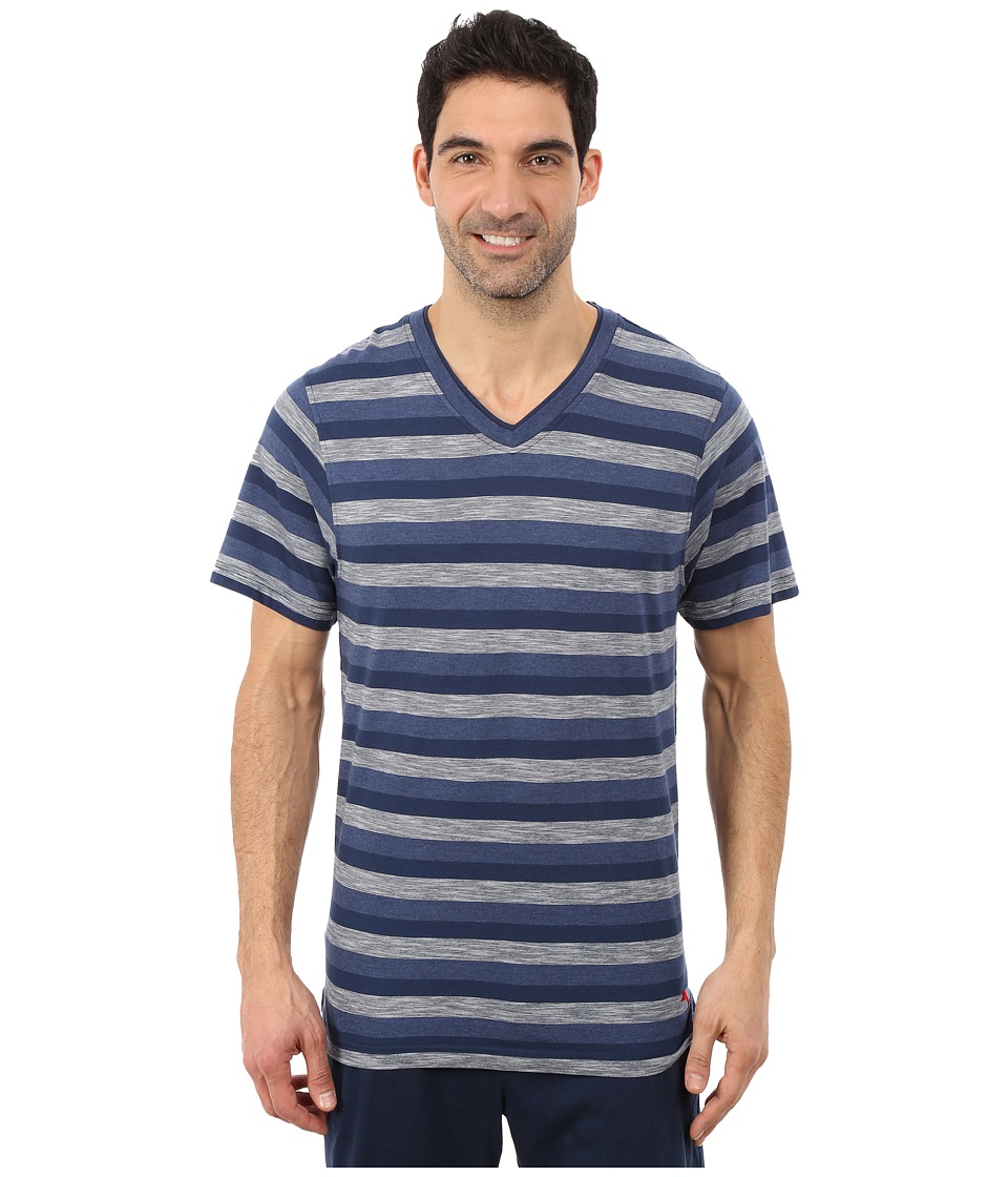 Tommy Bahama - Heather Cotton Modal Feeder Stripe V-Neck Tee (Navy Blue Stripe) Men