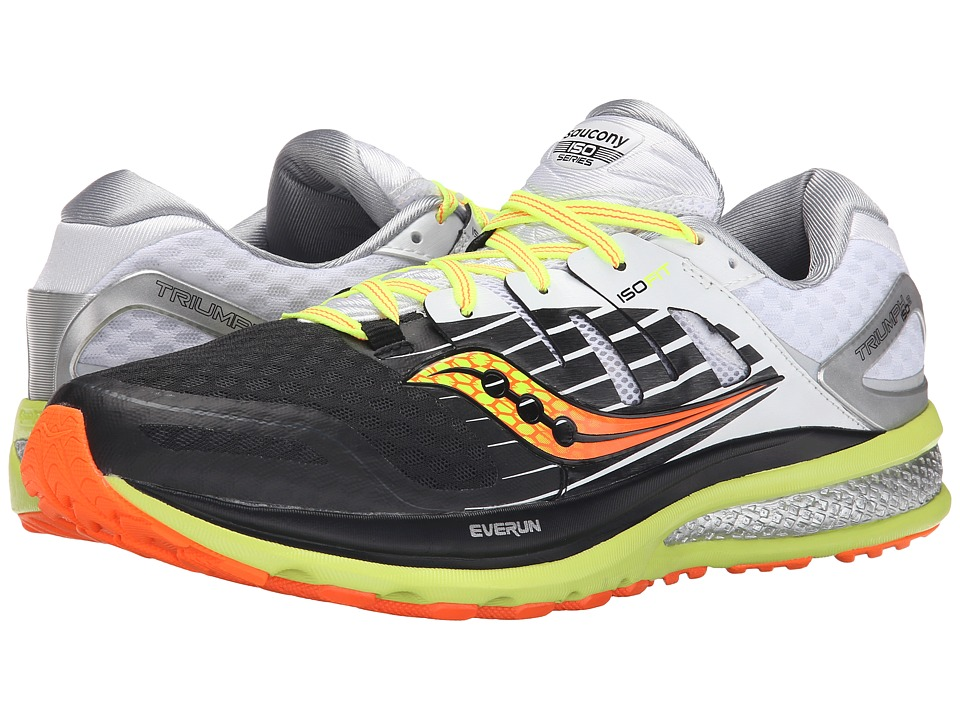 Saucony - Triumph ISO 2 (Black/White/Citron) Men's Shoes