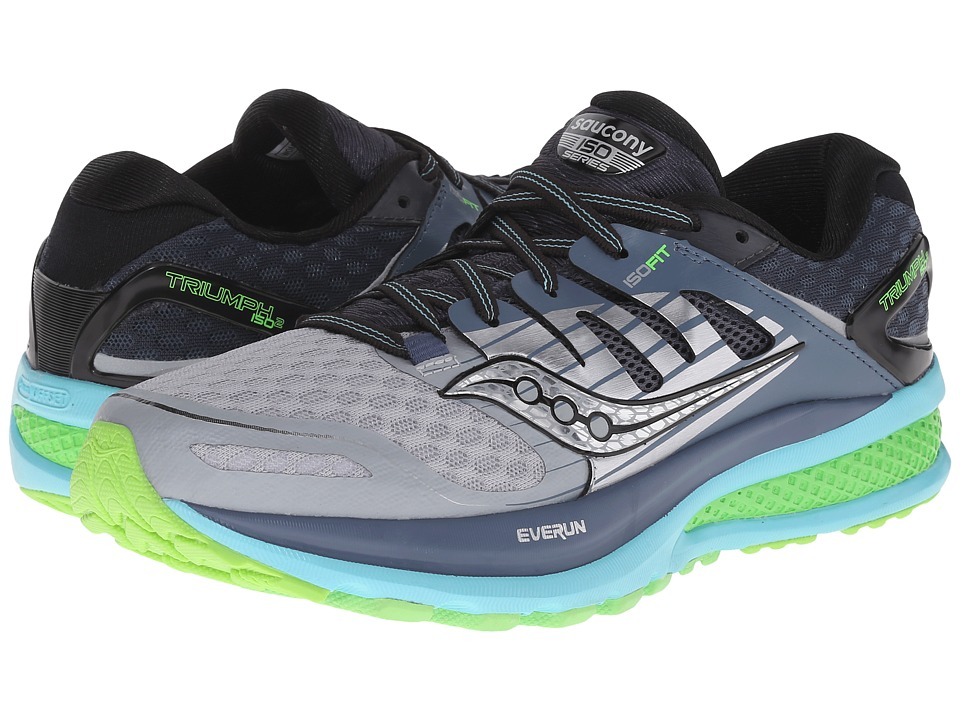 Saucony - Triumph ISO 2 (Grey/Blue/Slime) Women's Shoes